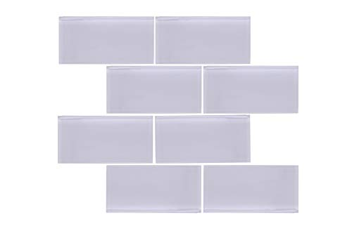 Crystalcor USA : 3x6 Brick Glass Subway Tile Backsplash Light Grey for Kitchen Bathroom Shower 12 in x 12 in x 8mm mesh Mounted (5 Square feet) by Crystalcor USA (Image #1)