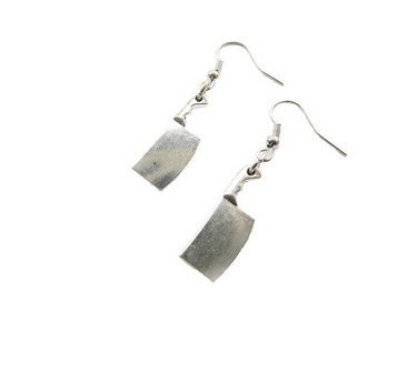 Butcher Knife Dangle Earrings,meat Cleaver Knife,chopper Knife,zombie Weapon,funny Horror Scary Geeky