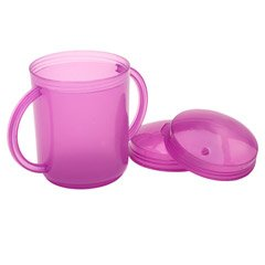 TalkTools Recessed Lid Cup with Handles - 2 Lids Included for Cup or Straw Drinking - Speech Therapy Tool