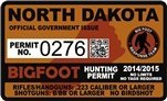 "North Dakota ND Bigfoot Hunting Permit 2.4"" x 4"" Decal Sticker"