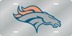 Denver Broncos Laser Cut Silver License (Denver Broncos Silver Laser)