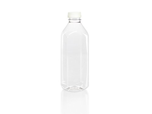 (6) 32 oz. Clear Food Grade Plastic Juice Bottles with White Tamper Evident Caps (6/pack) Cider 32 Ounce Bottle