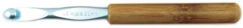 (Susan Bates 5-1/2-Inch Bamboo Handle Silvalume Head Crochet Hook, 9mm, Blue)