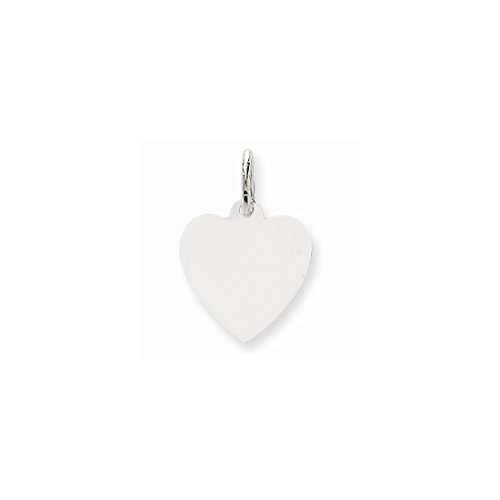 14k White Gold .009 Gauge Engravable Heart Pendant Charm Necklace Disc Simple Shaped Plain Fine Jewelry Gifts For Women For Her