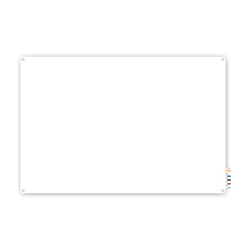 2'x3' Harmony Glass Board, Colors - Radius Corners - White - 4 Markers and Eraser by Ghent