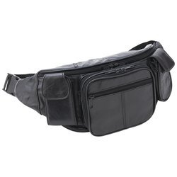 Embassy Luwaist2 Leather Waist Bag with water bottle holder, Outdoor Stuffs