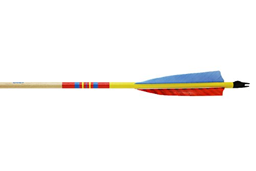 Bear Archery X200 Precision Matched Arrows; 11/32 Diameter, 55-60 Spine Weight, Yellow Crown W/Clear Stain Shaft, (one dozen), 12-points included, not installed