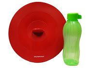 Silicone Suction Lids Colour Red - Size L + Free Tupperware Eco Bottle 500ml by AgoraSilicone