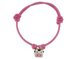 18KT Yellow Gold Pink Bracelet w/ Cow Charm by Amalia Children's Fine Jewelry (Image #3)
