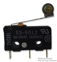 MICROSWITCH, SPDT, ROLLER, 125VAC, 5A SS-5GL2 By OMRON ELECTRONIC COMPONENTS SS-5GL2-OMRON ELECTRONIC COMPONENTS