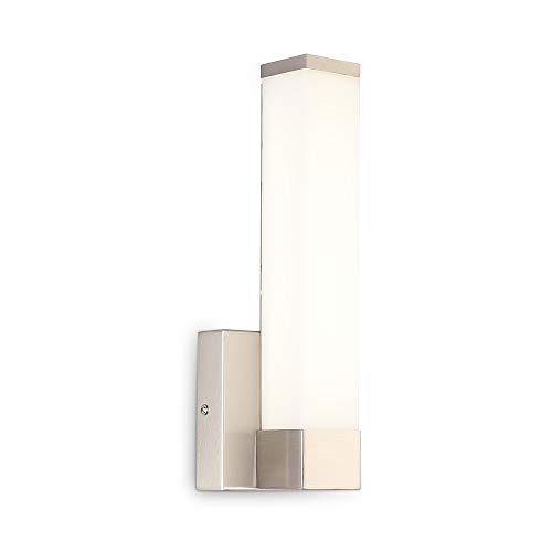 LED Bedside Sconces Wall Lamp Square Tube Bathroom Vanity Light Fixture Brushed Nickel 11.8inch 6W ()