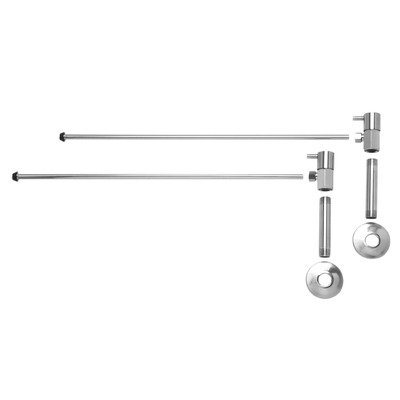 Lever Handle Bathroom Angle Supply Kit with Nipple Finish: Polished Chrome ()