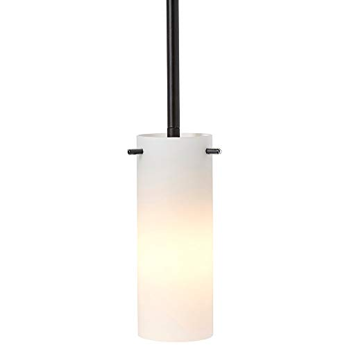 New Simple Modern Frosted Glass Pendant Light Black Finish | Contemporary Sleek Cylinder Design | Frosted Fixture