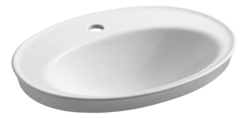 Kohler 2075-1-0 Vitreous china Drop-In Oval Bathroom Sink, 27 x 20.75 x 10.75 inches, White ()
