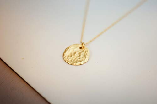 Filled Disc Gold (Gold Filled Layered Disc Necklace, Simple Delicate Everyday Minimalist Jewelry, Artisan Handmade Design)
