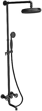 RGERG Columna de Ducha de Estilo Industrial Vintage, con Lluvia de Ducha de Acero Inoxidable Lluvia y Ducha de Mano y Grifo, Conjunto de Ducha Steampunk, Sistema de baño de baños de latón