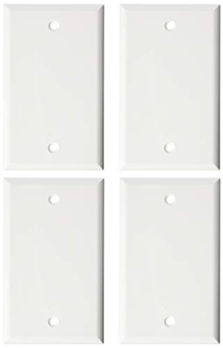 Blank Outlet Covers 1-Gang Midway Blank Plate 1-Gang No Device Blank Wallplate Standard Size Blank Outlet Cover, White (4 Pack)
