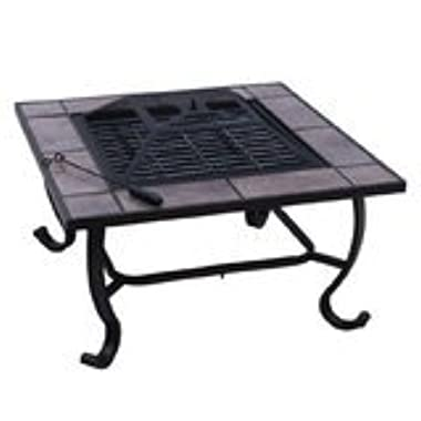 Outsunny Square Outdoor Backyard Patio Firepit Table, 32-Inch