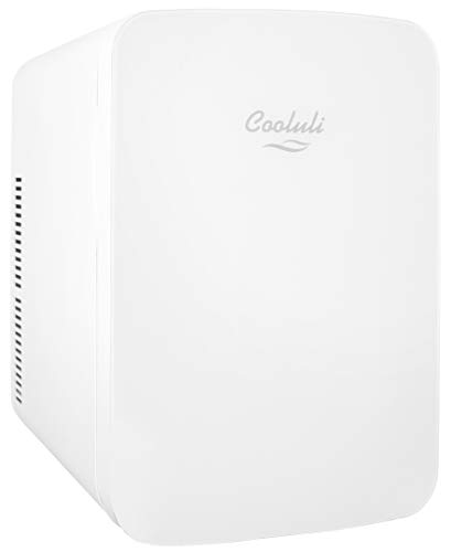 Cooluli Infinity White 15 Liter Compact Portable Cooler Warmer Mini Fridge for Bedroom, Office, Dorm, Car - Great for Skincare & Cosmetics (110-240V/12V)