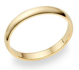 14k Yellow Gold Band Plain Dome Mens Wedding Ring Solid 3 MM