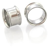 EG GIFTS 1 Pair 00 Gauge Steel Flesh Tunnels [Double Flare Eyelets]