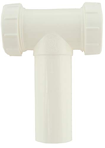 Plastic Center Outlet Tee - Plastic Center Outlet Tee, 1-1/2 inch Diameter, for Use with Slip Joint Tubes, White - PlumbUSA