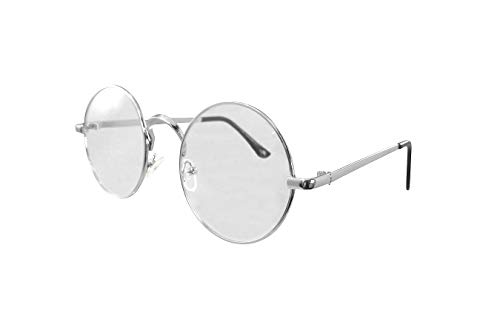 Nicky Bigs Novelties Lennon Round Large Metal Colored Frame Clear Lens Eye Glasses Wire Santa Costume Silver ()