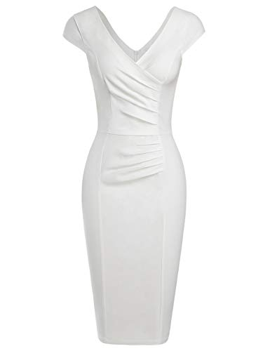- MUXXN Ladies Cut Out Neck High Stretch Pleated Wear to Work Midi Office Dress with Sleeve (White L)