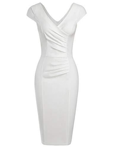 - MUXXN Women's Classy Vintage Double V-Neck Ruched Sheath Formal Tea Dress (White S)