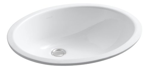 KOHLER K-2210-0 Caxton Undercounter Bathroom Sink, White (Oval Vanity Sink)
