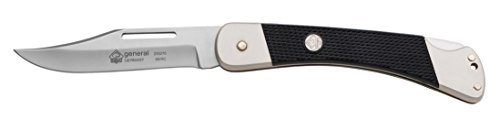 "PUMA General Pocket Folding Knife - German 440A Steel - Clip Point Hollow Ground Style - 3.7"" blade, 7/64"" thick, total length closed 4.9"", open 7.8"" - Lock Back Folder"