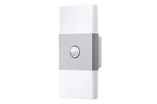 OSRAM Noxlite LED Wall Außenlampe mit Bewegungsmelder und Dämmerungssensor / Kühlkörper aus hochwertigem Aluminium / 2 x 6W, 6000K - kaltweiß, silber