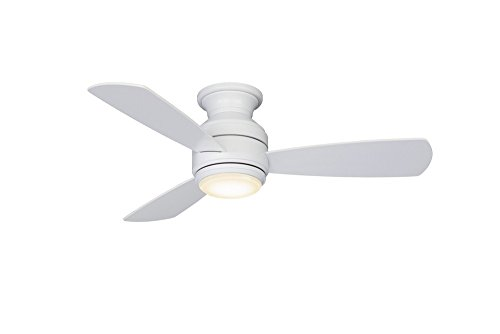 Fanimation LP8347LMW Level Hugger Ceiling Fan with Dimming LED Light Kit and Control, Matte (Fanimation Fan Light)