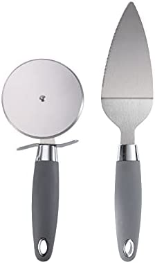 Kitchen Baking Pizza Set (Pizza Spatula + Pizza Wheel) Round Roller, Stainless Steel Pizza Knife Spatula, Rubber Handle + Stainless Steel Material, Can Be Used to Slice Pizza, Shovel Pizza