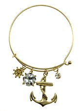Womens Jewelry, Anchor, Gold Tone Metal Hook Bangle w/ Assorted Accents Crystal Accent Rhinestone Accent Anchor Gold Tone Metal Hook Bangle Assorted Accents - Materials: Metal - Length: Diamter: 2.5 Inch (Crystal Accent Gold Tone Key)