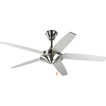 Progress Lighting P2530-09 54-Inch 5 Star Fan with Reversible Silver/Natural Cherry Blades, Brushed ()