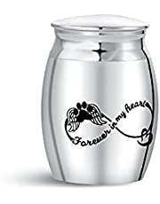SBI Jewelry Small Urn for Dog Pets Paw Angel Wing Heart Memorial Keepsake Cremation Urns for Ashes, Stainless Steel
