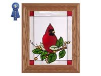 - Cardinal and Berries, Vertical Stained Glass Panel