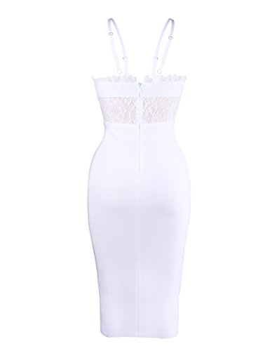 UONBOX Women's Sexy Lace Spliced Backless Spaghetti Strap Halter Cocktail Party Bandage Dress