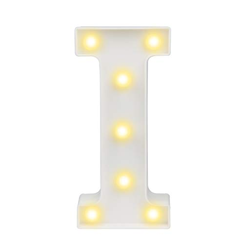 Pooqla LED Marquee Letter Lights Alphabet Light Up Sign for Wedding Home Party Bar Decoration I