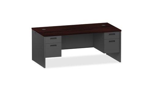 2 X Box Drawer - Charcoal Modular Desk Furniture' /Lorell Mahogany/charcoal Pedestal Desk - 72 Width X 36 Depth X 29.5 Height - 2 X Box, File Drawer[s] - Double Pedestal - Steel - Mahogany, Charcoal')