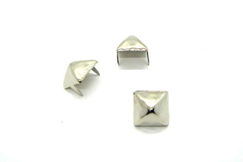 Large Pyramid Studs - Size 16 - Ideally Used for Denim and Leather Work - Classic Two-Prong Studs - Available in Silver Color - Pack of 50 ()