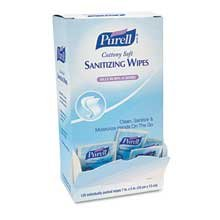 PURELL Cottony Soft Individually Wrapped Hand Sanitizing Wipes, 5 inch x 7 inch, White, 12/Ctn