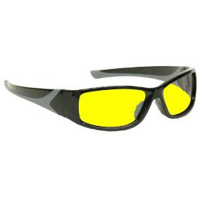 Gloss Black Nylon Frame (Riders night riding glasses the super comfortable fitting EXTREME - Gloss black Nylon frame style with canary yellow lenses with AR coating)