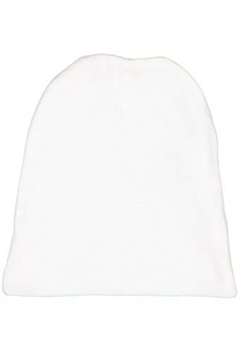 (Rabbit Skins Infant 100% Cotton Baby Rib Folded Beanie Cap (White, One Size Fits All))