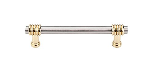 Gorgeous Two-tone finish Nouveau Collection 4 Inch Center to Center Bar Cabinet Pull Drawer Handle (Polished Brass and Brushed Satin Nickel) Cabinet Drawer Pulls Polished Brass