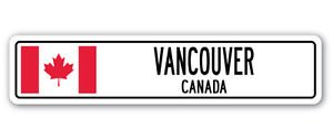 - VANCOUVER, CANADA Street Sign Sticker Decal Wall Window Door Canadian flag city country road wall 8.25 x 2.0