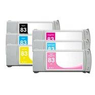 Toner Spot Remanufactured Ink Cartridges Replacement for HP 83 Full Color Set (Pigment Series: Black, Cyan, Yellow, Magenta, Light Cyan, Light Magenta)