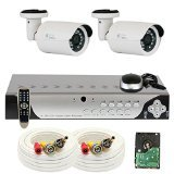 Cheap GW Security VD2C4CH37HD 4 Channel 960H DVR Surveillance System with 2 x 850TVL Outdoor or Indoor Analog Security Cameras, 500 GB HDD Pre-installed