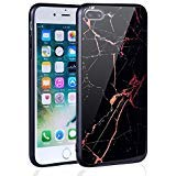 (The Mass iPhone 7 Plus case, iPhone 8 Plus case, Marble Creative Design on Tempered Glass Back Cover with Soft TPU Frame for iPhone 8 Plus/7 Plus (Red Line Granite))